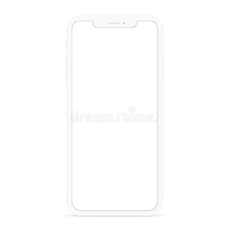 Vector el teléfono elegante moderno de dibujo, pantalla plana blanca del blanco del diseño del teléfono fotos de archivo libres de regalías