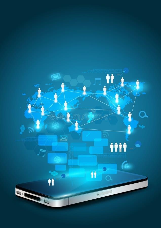 Teléfono móvil con proceso de la red de la tecnología stock de ilustración