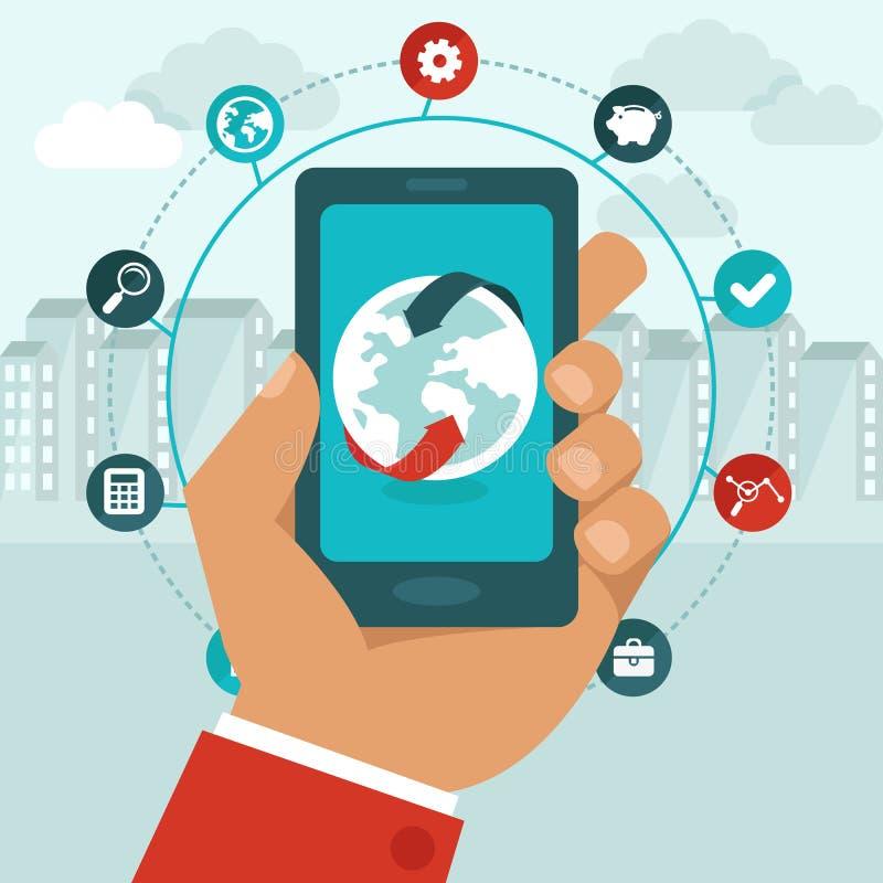 Vector el teléfono móvil con los iconos en estilo plano stock de ilustración