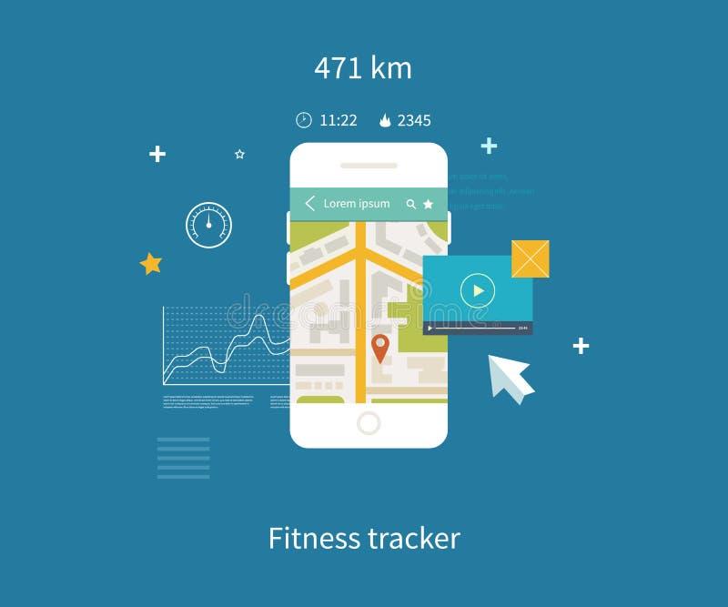 Vector el teléfono móvil - concepto del app de la aptitud encendido stock de ilustración