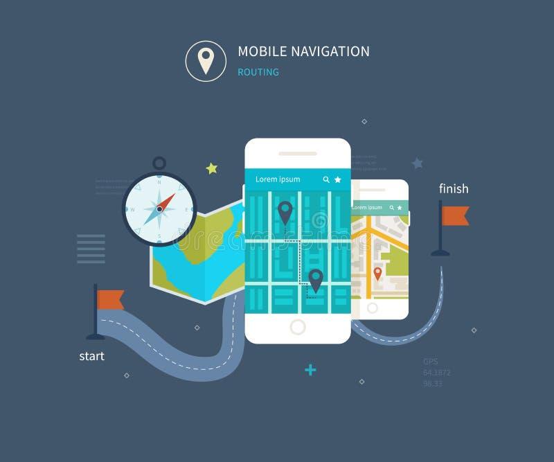 Vector el teléfono móvil - concepto del app de la aptitud encendido ilustración del vector