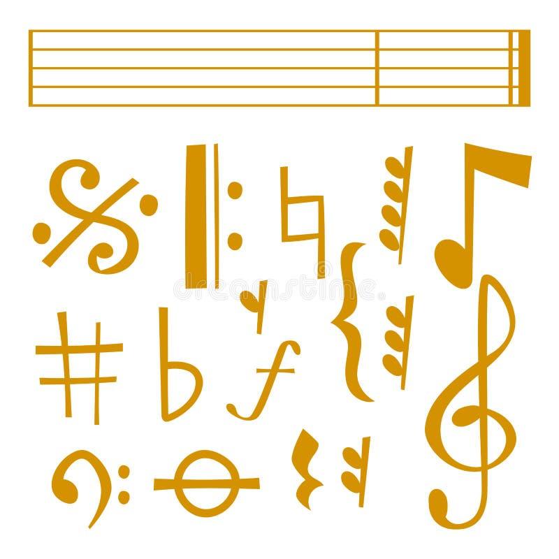 Vector el texto sano de la melodía de los símbolos coloridos del músico de la melodía de la música de las notas que escribe sinfo libre illustration