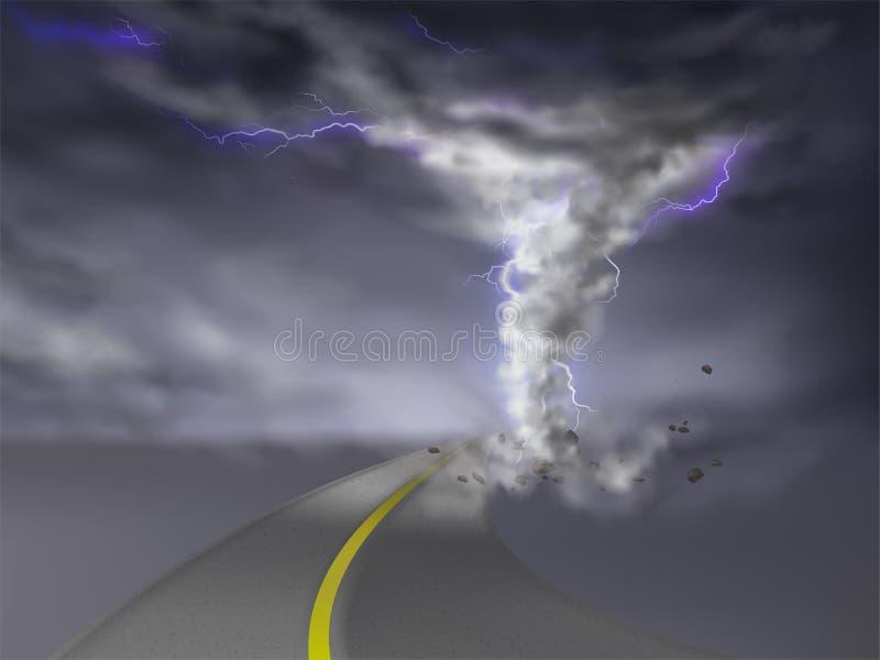 Vector el tornado con los relámpagos, huracán en el camino libre illustration