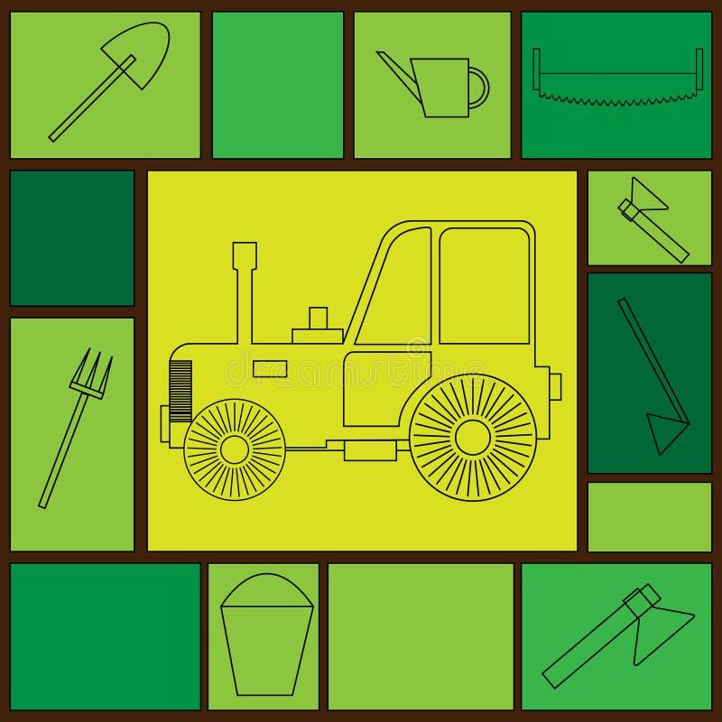 Vector el tractor del ejemplo pintado con las líneas del negro del esquema en un fondo amarillo rodeado por las herramientas agrí stock de ilustración