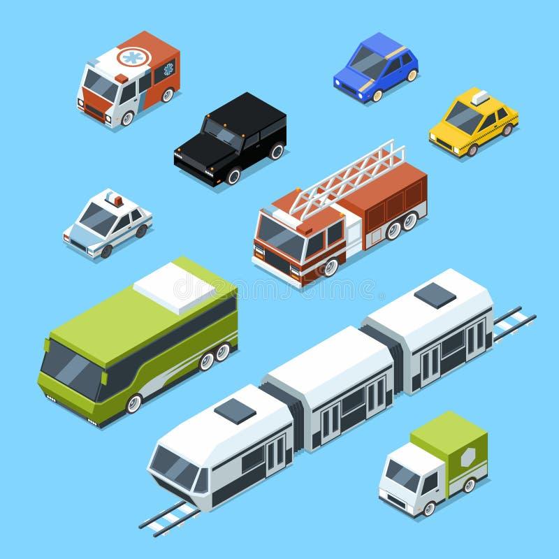 Vector el transporte isométrico, aislante fijado los iconos del coche 3d en el fondo blanco Imágenes del tráfico urbano ilustración del vector