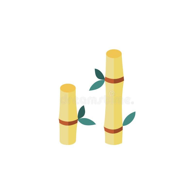 Vector el tronco de bambú de la historieta plana con el icono de las hojas stock de ilustración