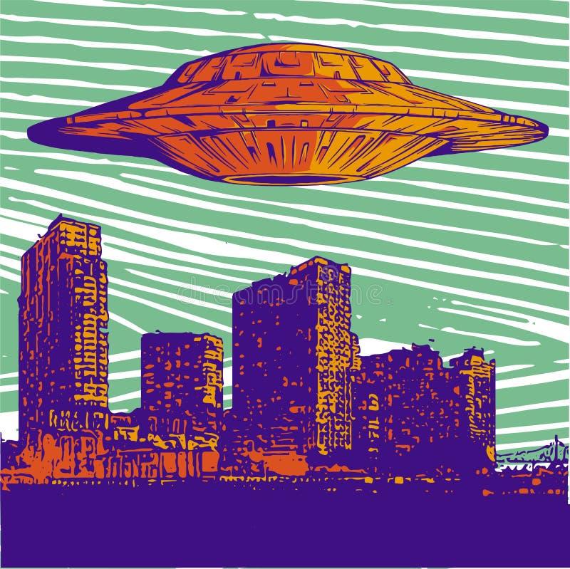 Vector el UFO del ejemplo con el vuelo ligero sobre ciudad en la noche ilustración del vector