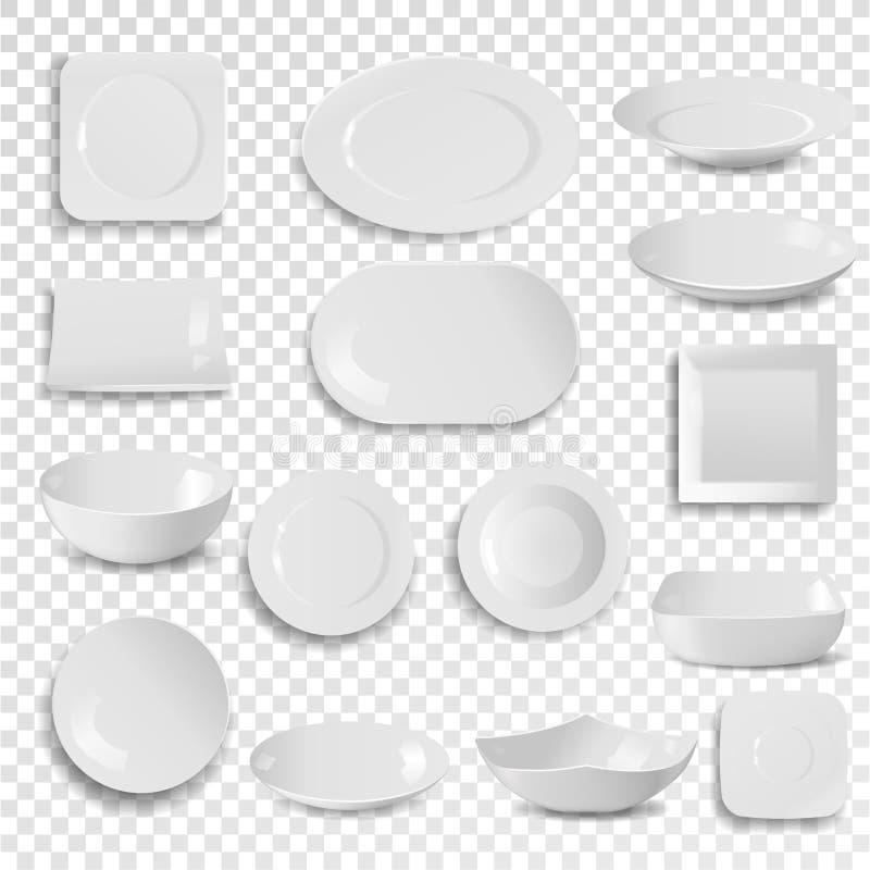 Vector el utensilio limpio blanco vacío del plato de la cena de la placa y del cuenco aislado en la comida del fondo que cena el  stock de ilustración