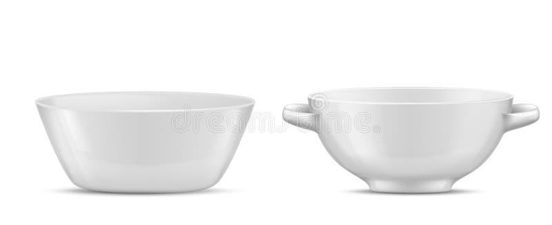 Vector el vajilla realista de la porcelana 3d, platos de cristal stock de ilustración