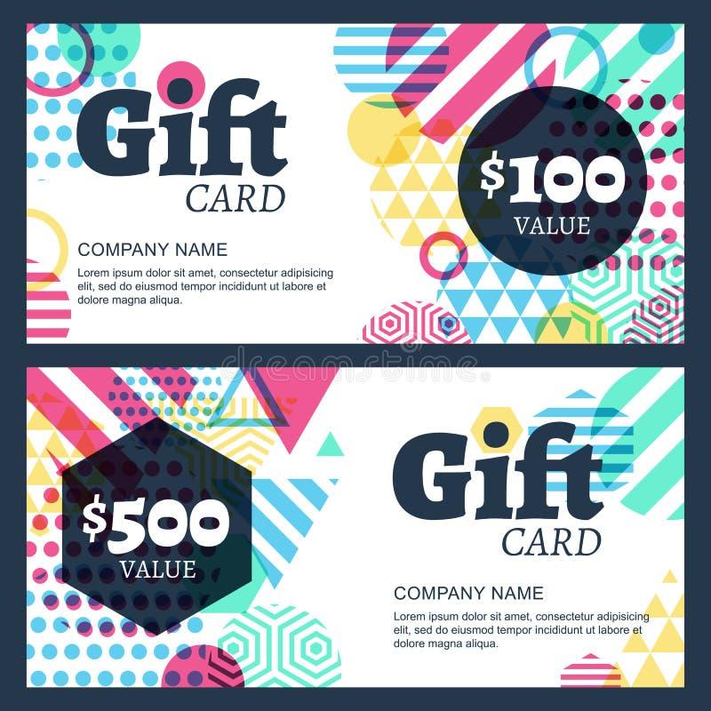 Vector el vale de regalo o la plantilla creativo del fondo de la tarjeta Abstra stock de ilustración