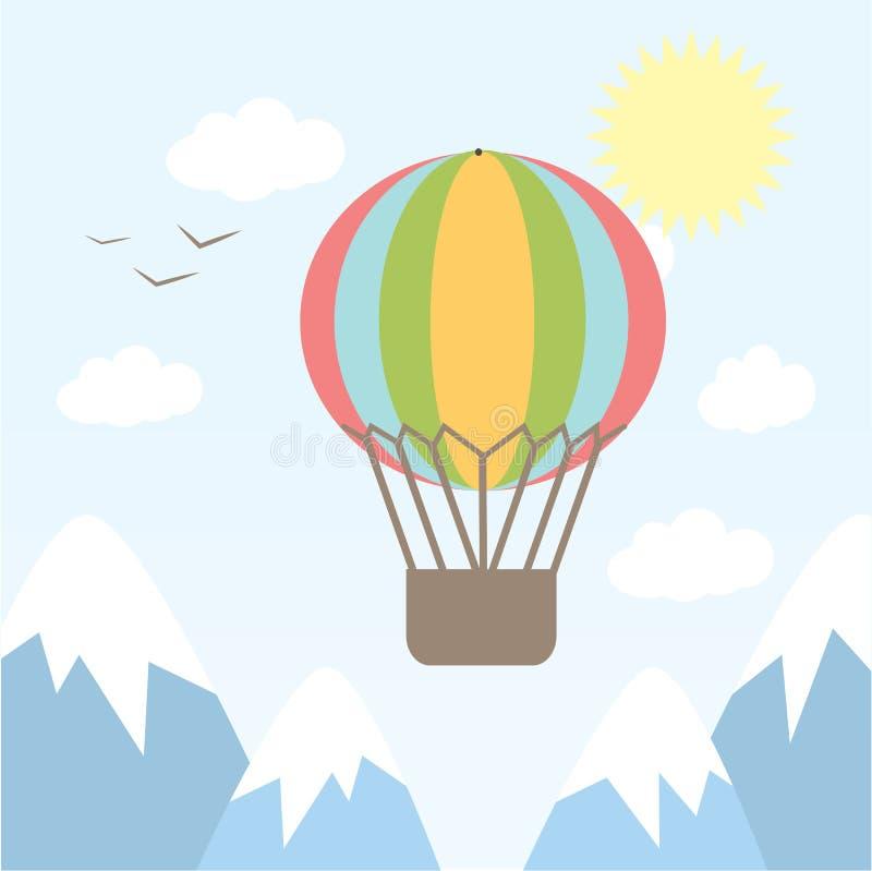 Vector el vuelo del globo del aire caliente del ejemplo en el cielo entre las montañas fondo, tarjeta ilustración del vector