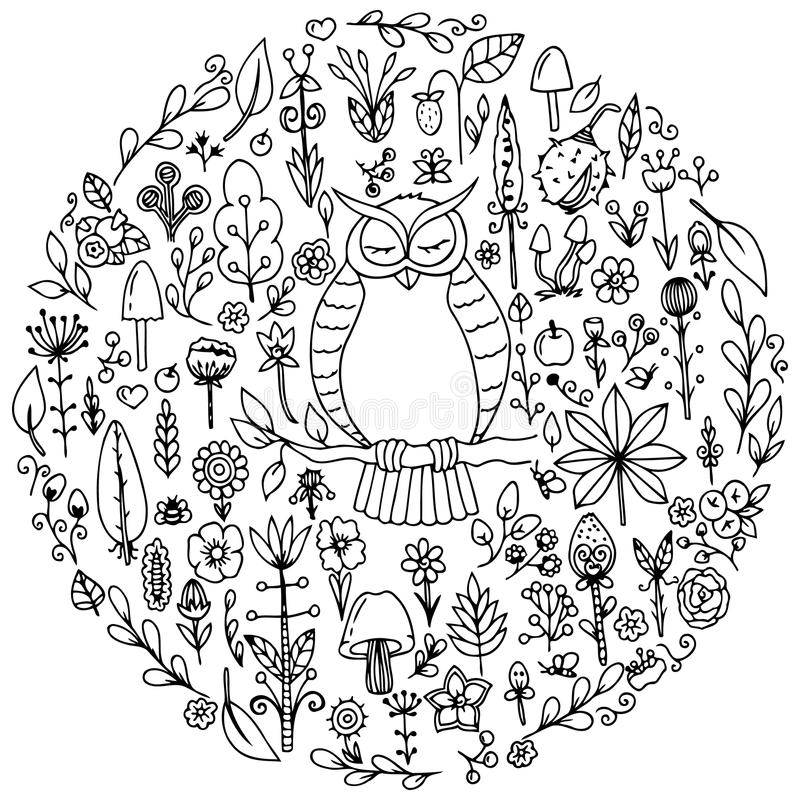 Vector el zentangl del ejemplo, el sistema redondo con un búho y las flores Dibujo del garabato Ejercicios meditativos Libro de c stock de ilustración