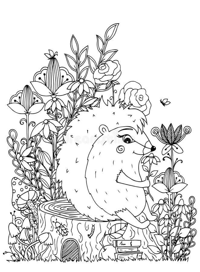 Vector el zentangl del ejemplo, erizo que se sienta en un tocón en las flores Dibujo del garabato Ejercicios meditativos colorant ilustración del vector