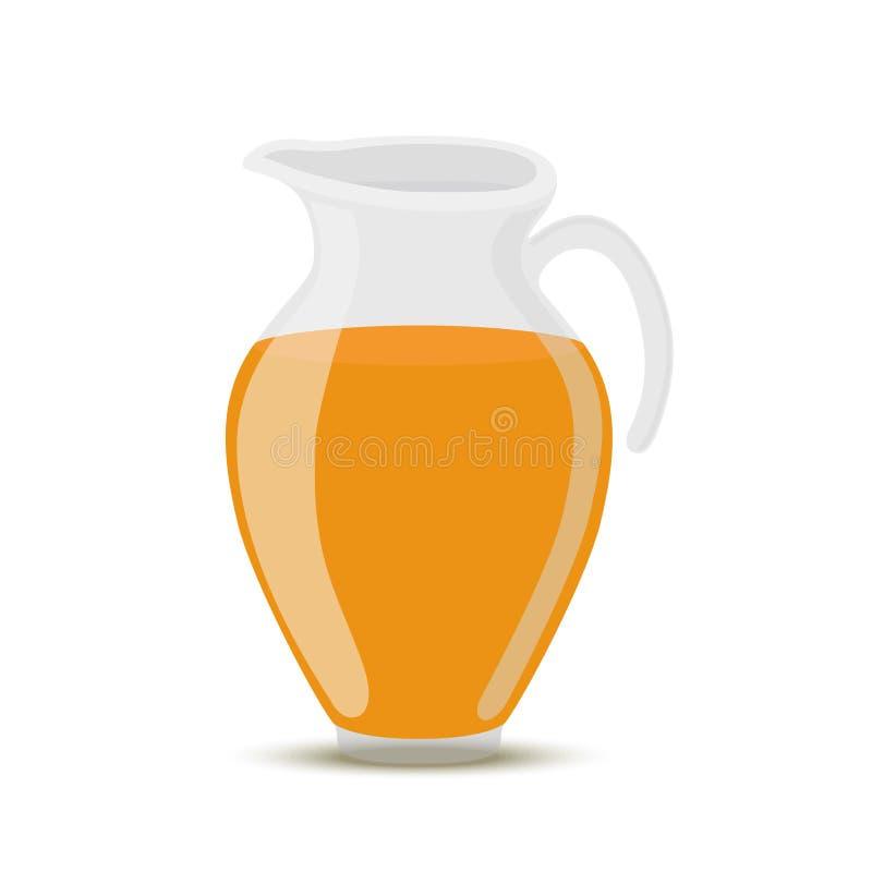 Vector el zumo de naranja en el tarro de cristal transparente, jarro stock de ilustración