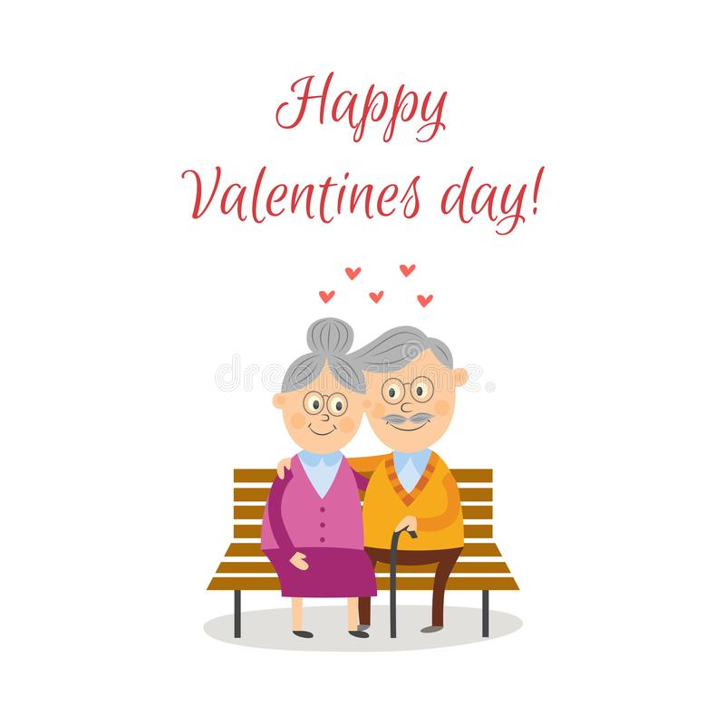 Vector elderly couple in love at valentine`s day royalty free illustration