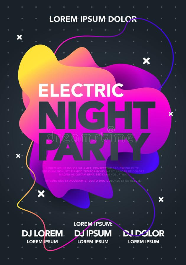 Vector electric night party poster with colorful liquid form. Abstract club flyer template with gradients fluid shapes. vector illustration