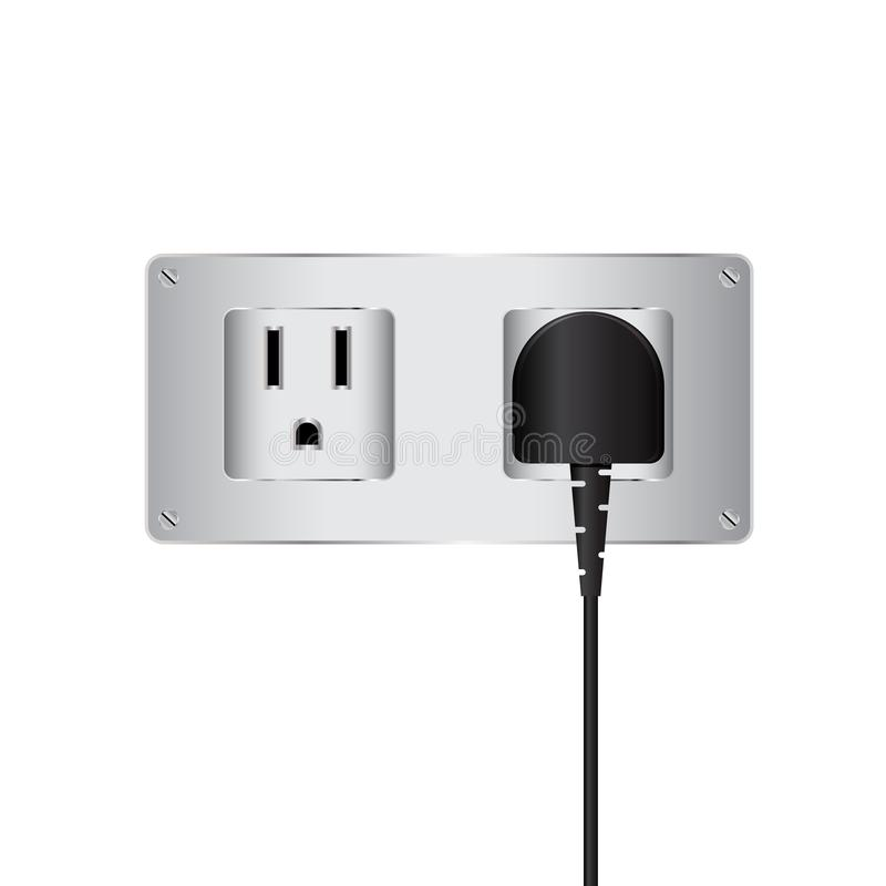 Vector electric plug and outlet. Is a general illustration stock illustration