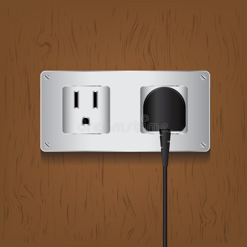 Vector electric plug and outlet on wood background. Is a general illustration stock illustration