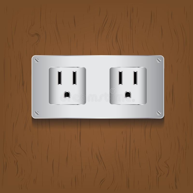 Vector electric plug on wood background. Is a general illustration vector illustration
