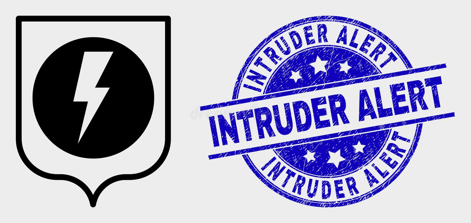 Vector Electric Shield Icon and Distress Intruder Alert Seal royalty free illustration