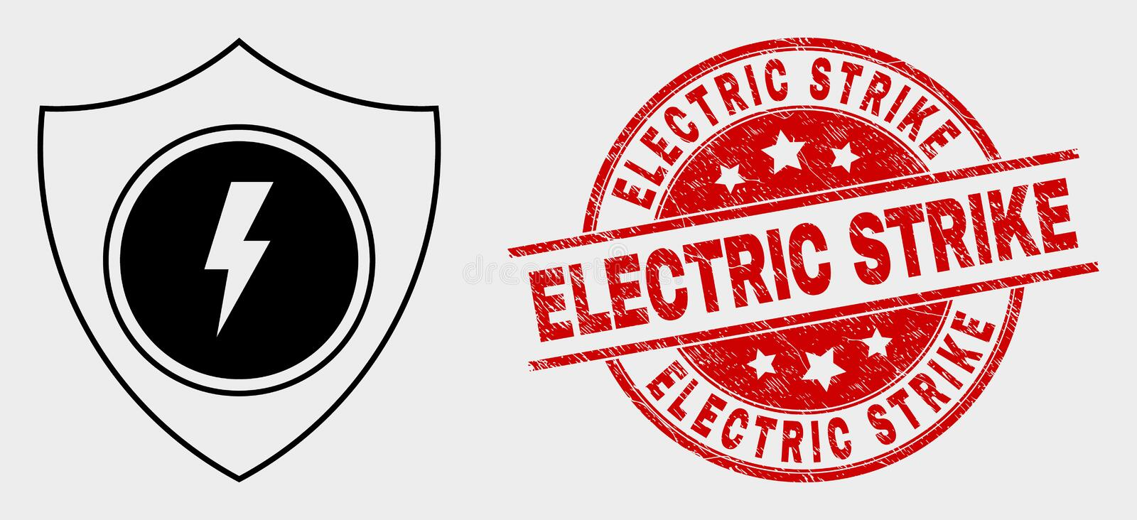Vector Electric Shield Icon and Grunge Electric Strike Stamp vector illustration