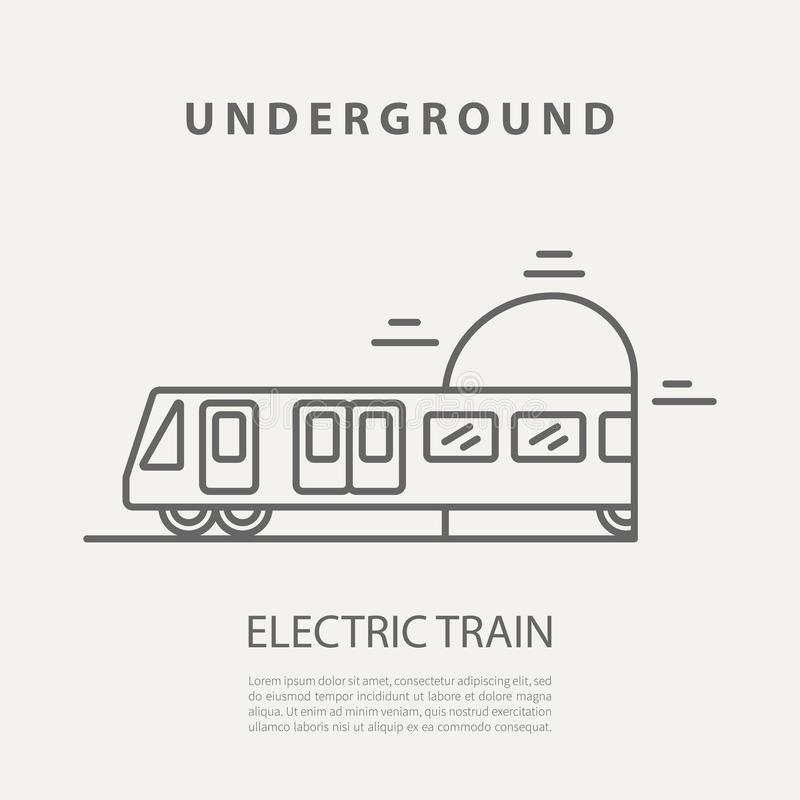 Vector electric train icon or badge. Graphic design elements in outline style for packaging, apps, website, advertising. Poster and brochure stock illustration