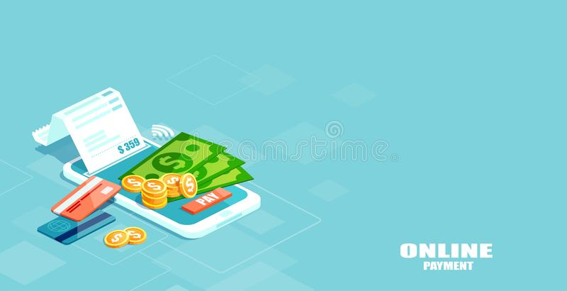 Vector of electronic bill, sms notification, pay history, finance data protection, smartphone with credit card. Online mobile payment concept. Vector of stock illustration