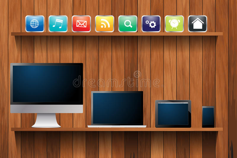 Vector electronic devices computer on wood shelf. Electronic devices desktop computer, laptop, tablet and mobile phones, With cloud of colorful app icon on wood stock illustration
