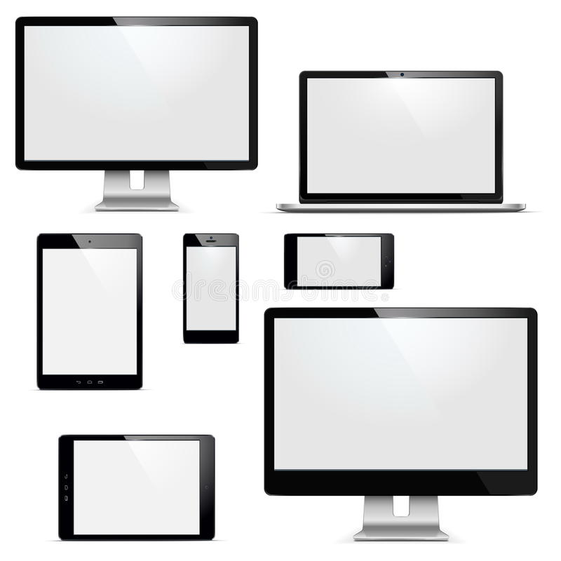 Vector electronic devices set stock illustration
