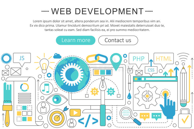 Vector elegant dun vlak de ontwikkelingsconcept van het lijnweb Van de het Webbanner van de websitekopbal de elementenlay-out Pre vector illustratie