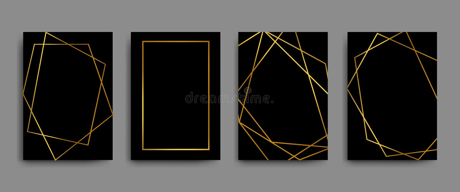 Vector elegant flyers, brochures, cards, banners with gold geometric borders on black background royalty free illustration