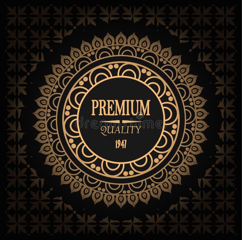 Vector elegant gouden etiket, embleem op naadloos patroon, gradiënt en de kwaliteit van de handtekeningspremie stock illustratie