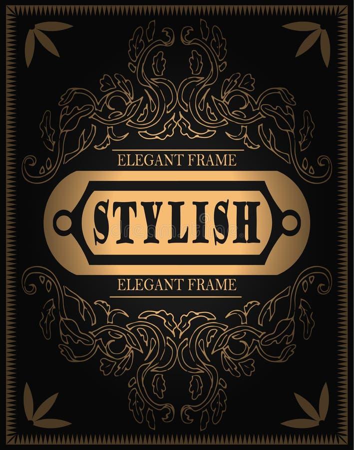 Vector elegant gouden etiket, embleem op naadloos patroon, modieuze gradiënt en handtekening vector illustratie
