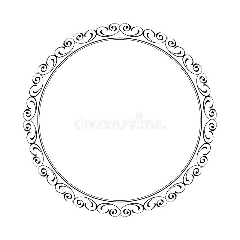 Vector elegant round retro frame.Vector illustration stock illustration