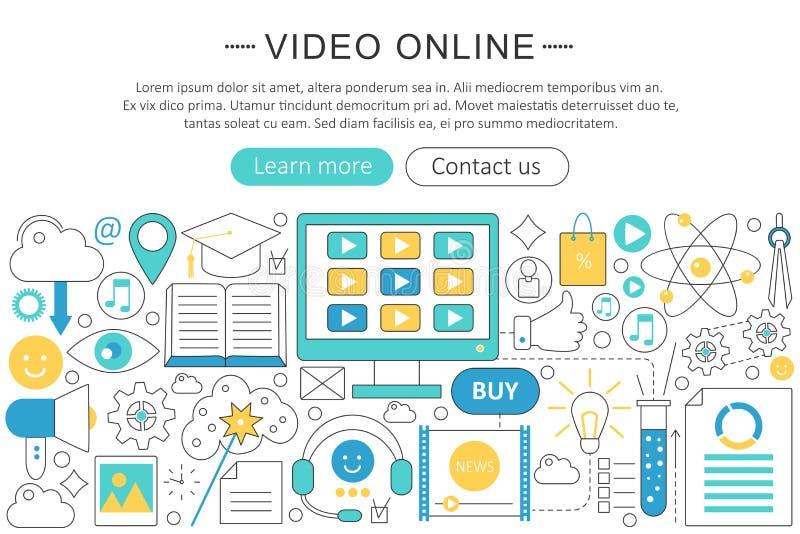 Vector elegant thin line flat design Video online technology concept. Website header banner. Video tutorials learning royalty free illustration