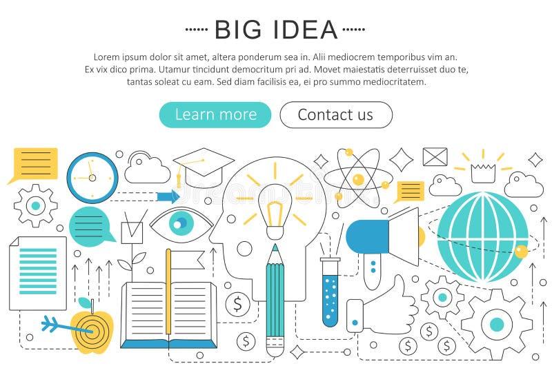 Vector elegant thin line flat modern Art design Big idea concept. royalty free illustration