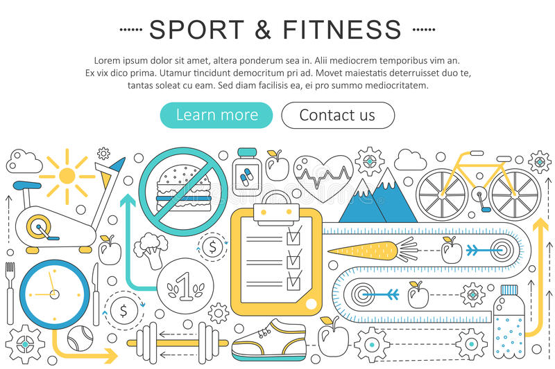 Vector elegant thin line flat modern Art design sport and fitness concept. Website header banner elements layout royalty free illustration
