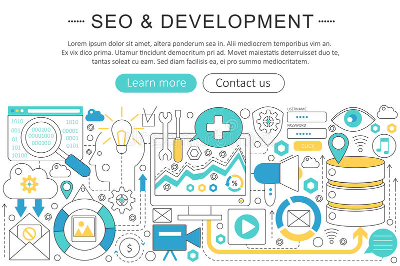 Vector elegant thin line flat modern SEO and development concept. Website header banner elements layout. Presentation royalty free illustration
