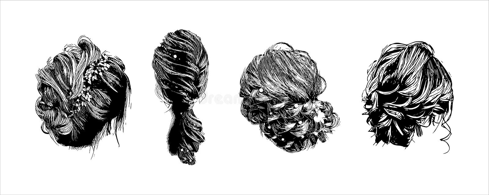 Vector elegant vintage retro woman wave hairstyle hand drawn illustration isolated on white background vector illustration