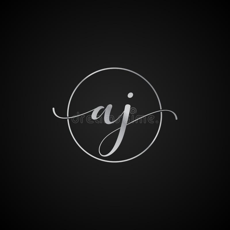 Vector elegante único moderno AJ de la plantilla del logotipo de la letra inicial creativo ilustración del vector