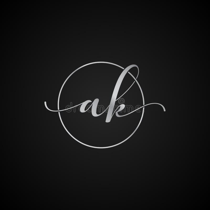 Vector elegante único moderno de la plantilla del logotipo de la letra inicial de AK creativo stock de ilustración