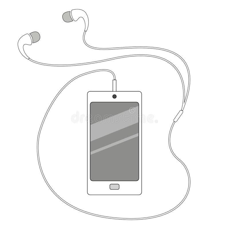 Vector elegante blanco moderno del aislamiento del teléfono y de los auriculares stock de ilustración