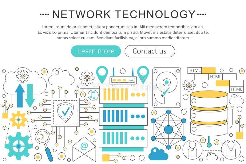 Vector elegante dünne Linie flaches modernes Netztechnikkonzept Websitetitelfahnen-Elementplan darstellung lizenzfreie abbildung