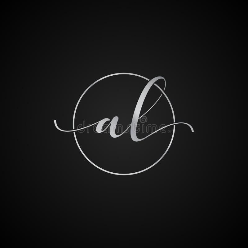 Vector elegante de la plantilla del logotipo de la letra inicial de AL Modern Unique creativo stock de ilustración