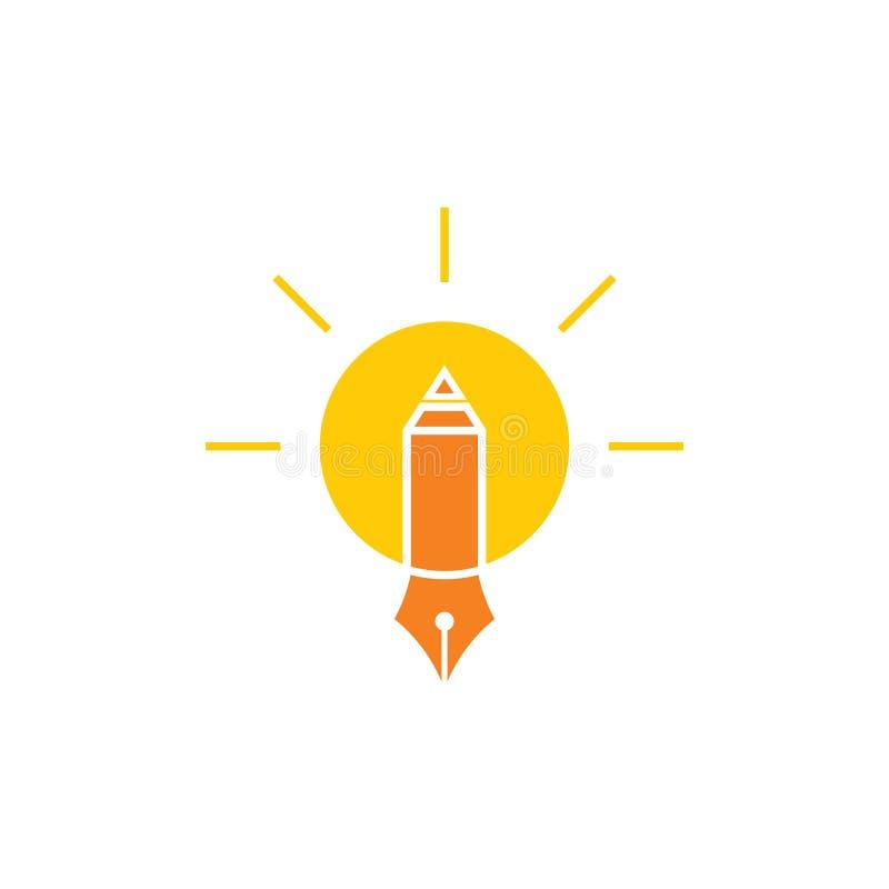 Vector elegante del logotipo de la bombilla de la educación de la pluma del lápiz del brillo stock de ilustración