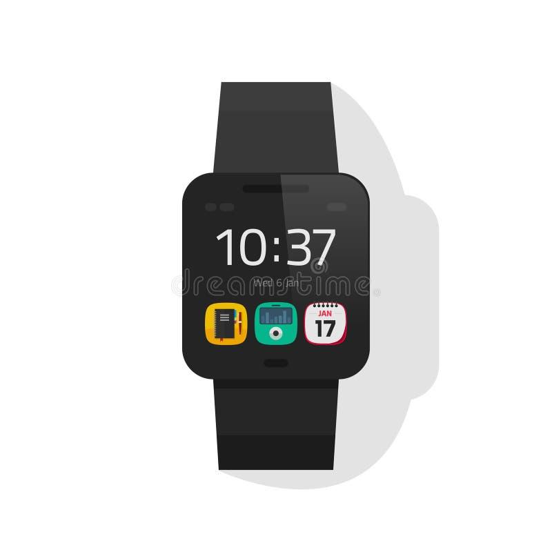 Vector elegante del negro del reloj, reloj digital de la mano, diseño plano del smartwatch stock de ilustración
