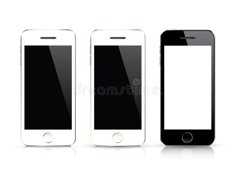 Vector elegante del teléfono tres Aislamientos blancos y negros del smartphone con diseño realista stock de ilustración