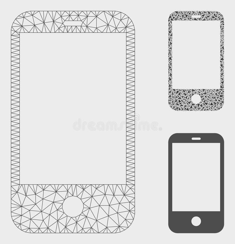 Vector elegante Mesh Carcass Model del teléfono e icono del mosaico del triángulo libre illustration
