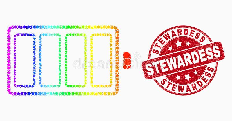 Vector Elektrisch de Batterijpictogram en Gekraste Stewardess Stamp Seal van het Spectrumpixel stock illustratie