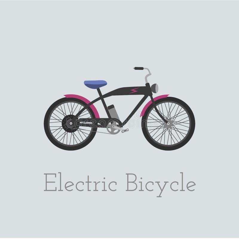 Vector elektrische fietsillustratie Elektrische die fiets op witte achtergrond wordt geïsoleerd Fiets De fietsillus van elektrisc stock illustratie